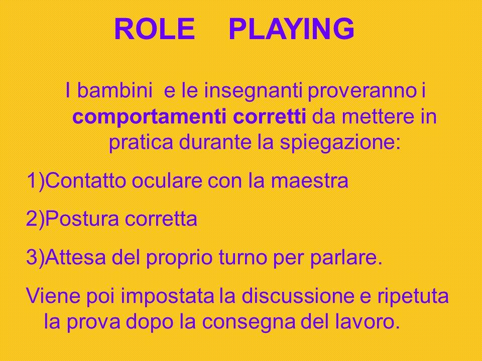 ROLE PLAYING I bambini e le insegnanti proveranno i comportamenti corretti da mettere in pratica durante la spiegazione: