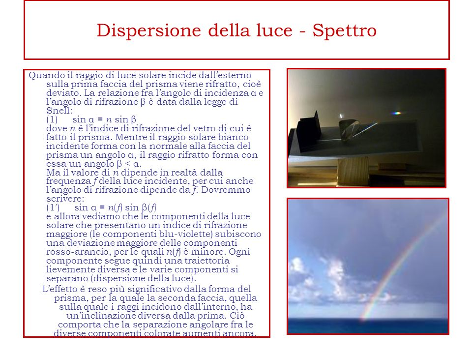 Dispersione della luce - Spettro