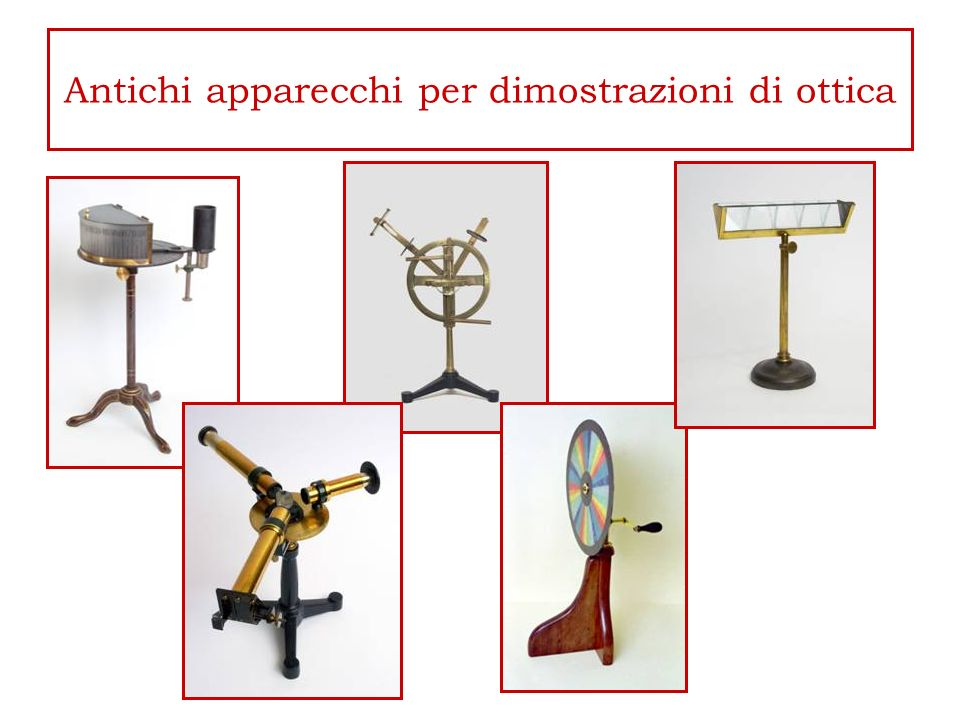 Antichi apparecchi per dimostrazioni di ottica