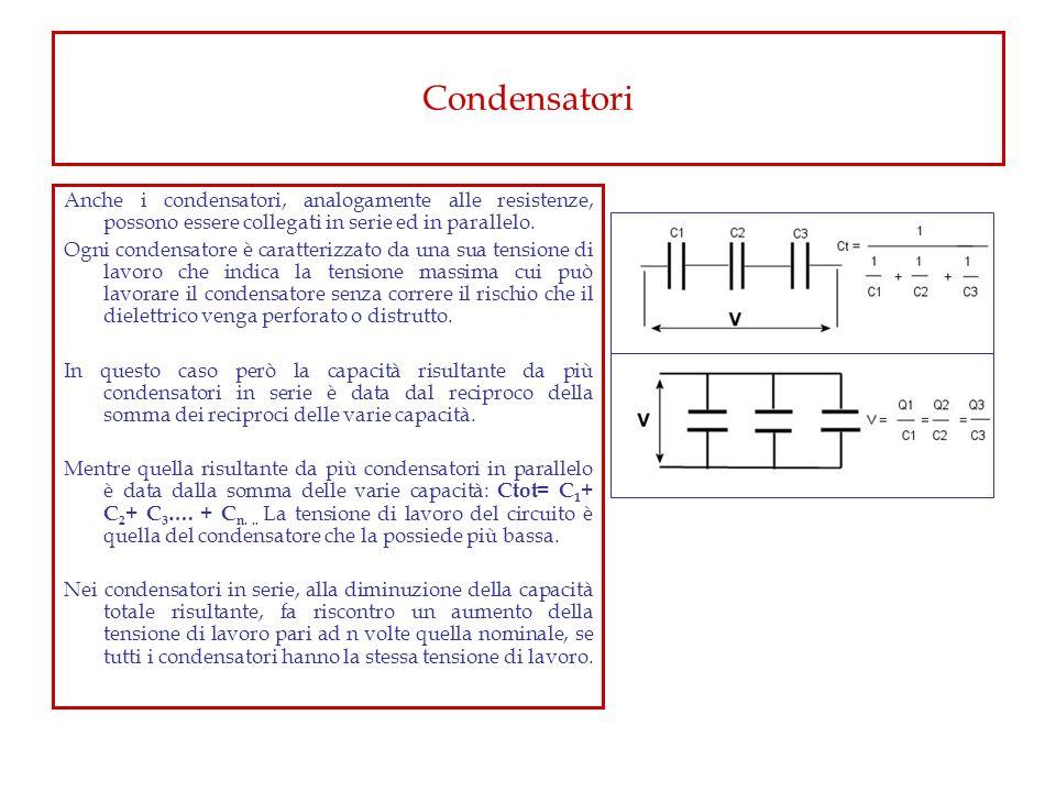 Condensatori Anche i condensatori, analogamente alle resistenze, possono essere collegati in serie ed in parallelo.