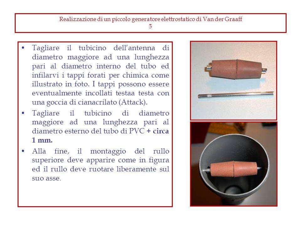 Realizzazione di un piccolo generatore elettrostatico di for Collegamento del tubo di rame al pvc