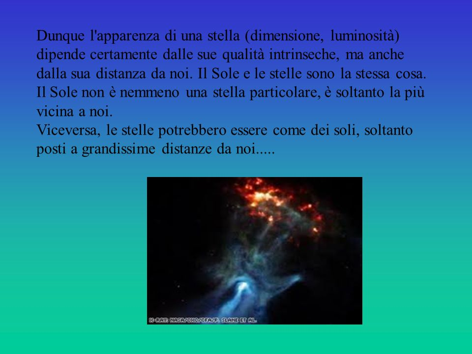 Dunque l apparenza di una stella (dimensione, luminosità) dipende certamente dalle sue qualità intrinseche, ma anche dalla sua distanza da noi.