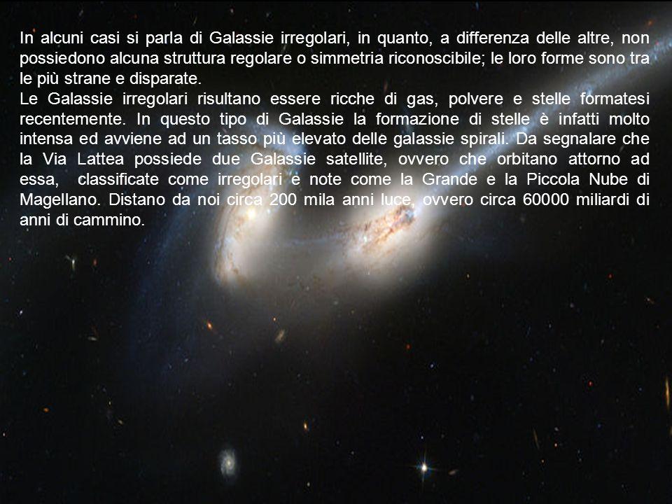 In alcuni casi si parla di Galassie irregolari, in quanto, a differenza delle altre, non possiedono alcuna struttura regolare o simmetria riconoscibile; le loro forme sono tra le più strane e disparate.