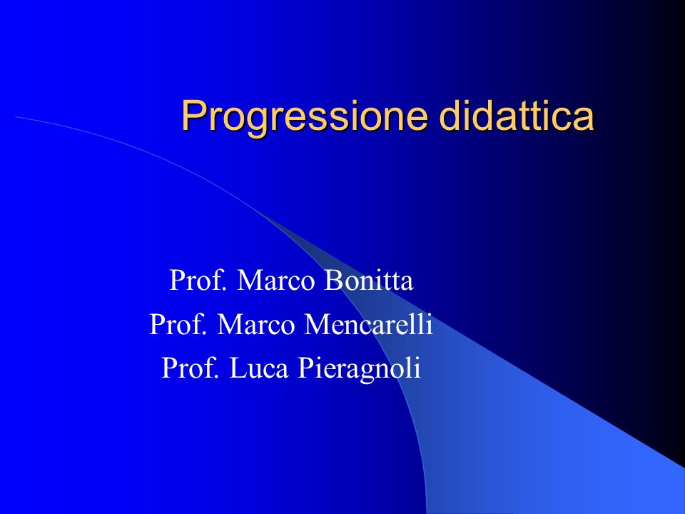 Progressione didattica