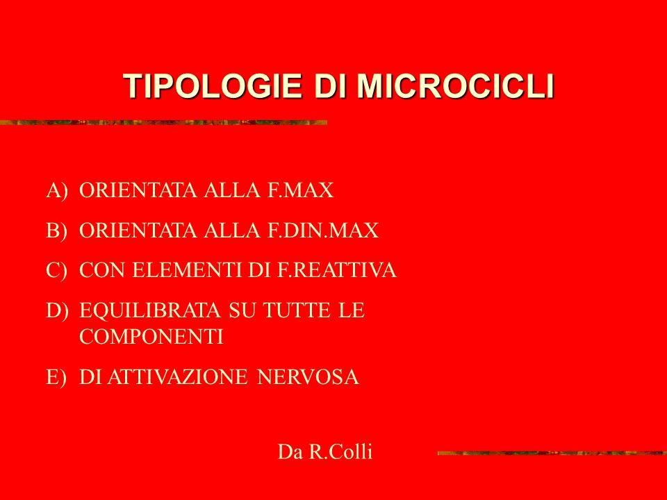 TIPOLOGIE DI MICROCICLI