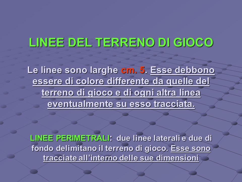 LINEE DEL TERRENO DI GIOCO Le linee sono larghe cm. 5