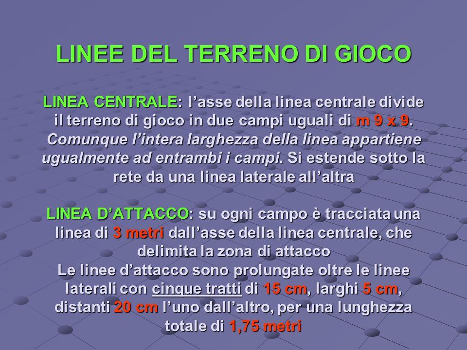 LINEE DEL TERRENO DI GIOCO LINEA CENTRALE: l'asse della linea centrale divide il terreno di gioco in due campi uguali di m 9 x 9.