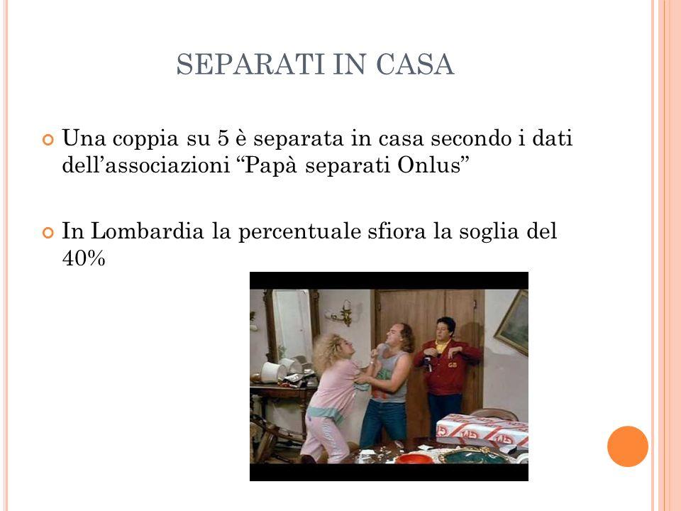 SEPARATI IN CASA Una coppia su 5 è separata in casa secondo i dati dell'associazioni Papà separati Onlus