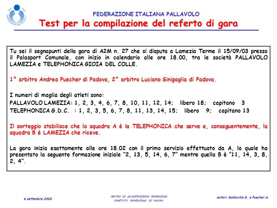Test per la compilazione del referto di gara