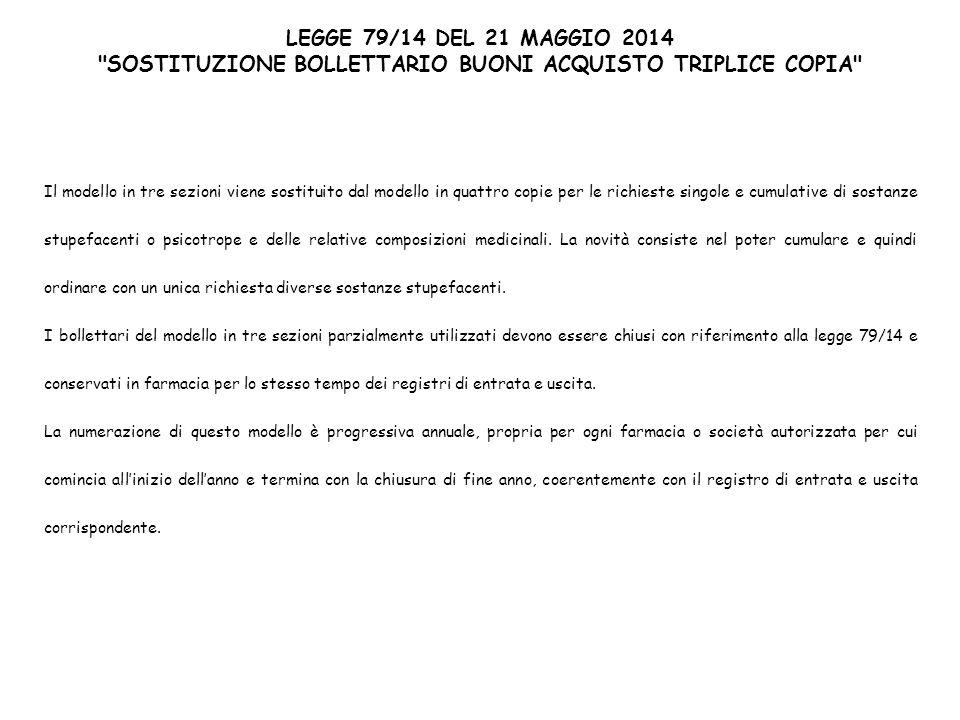 SOSTITUZIONE BOLLETTARIO BUONI ACQUISTO TRIPLICE COPIA