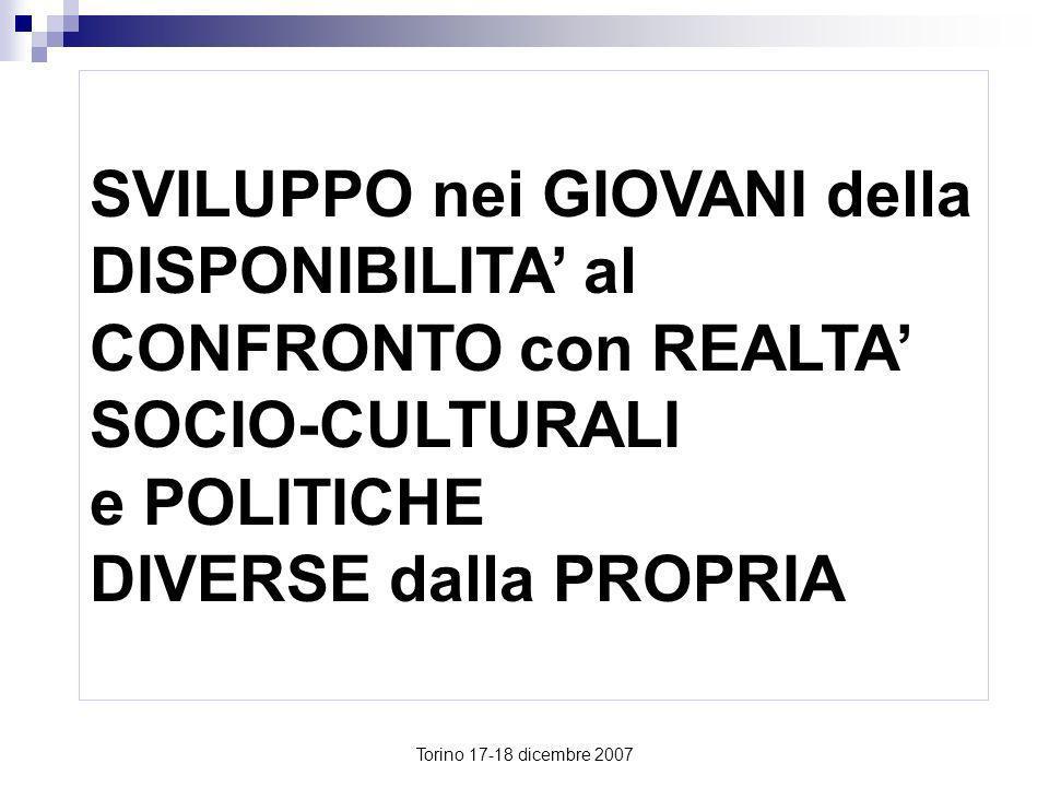 SVILUPPO nei GIOVANI della DISPONIBILITA' al CONFRONTO con REALTA' SOCIO-CULTURALI e POLITICHE DIVERSE dalla PROPRIA