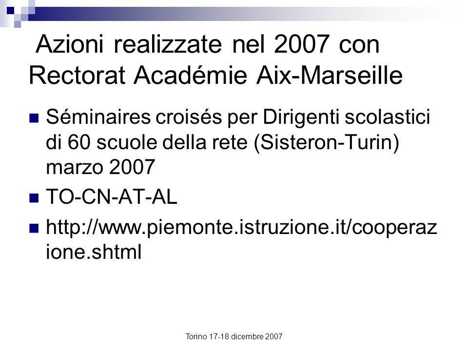 Azioni realizzate nel 2007 con Rectorat Académie Aix-Marseille