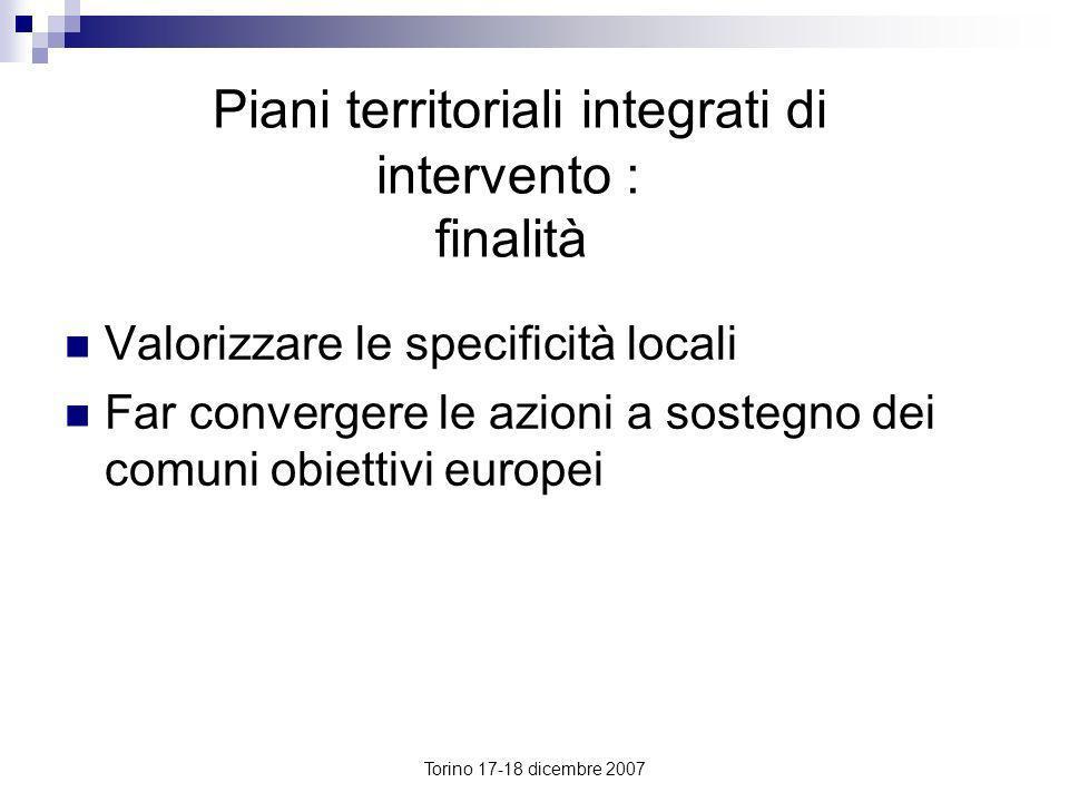 Piani territoriali integrati di intervento : finalità