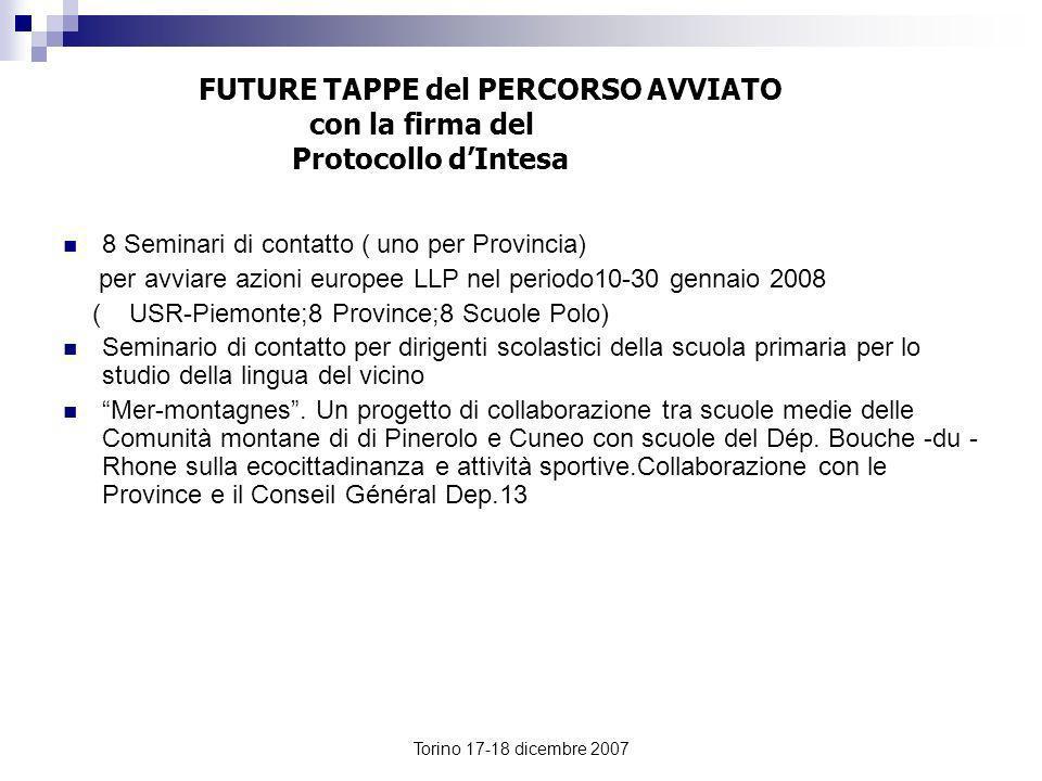 FUTURE TAPPE del PERCORSO AVVIATO con la firma del Protocollo d'Intesa