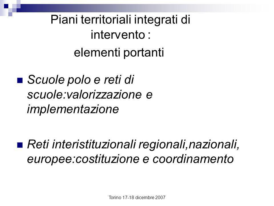 Piani territoriali integrati di intervento : elementi portanti