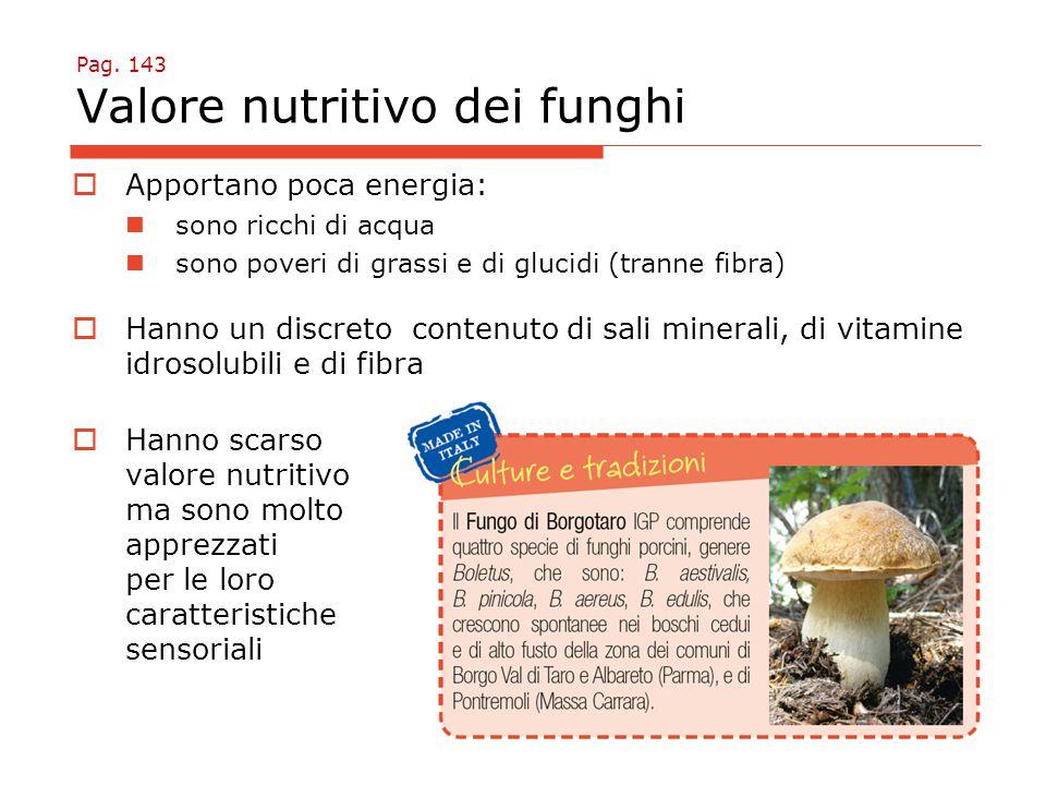 Pag. 143 Valore nutritivo dei funghi