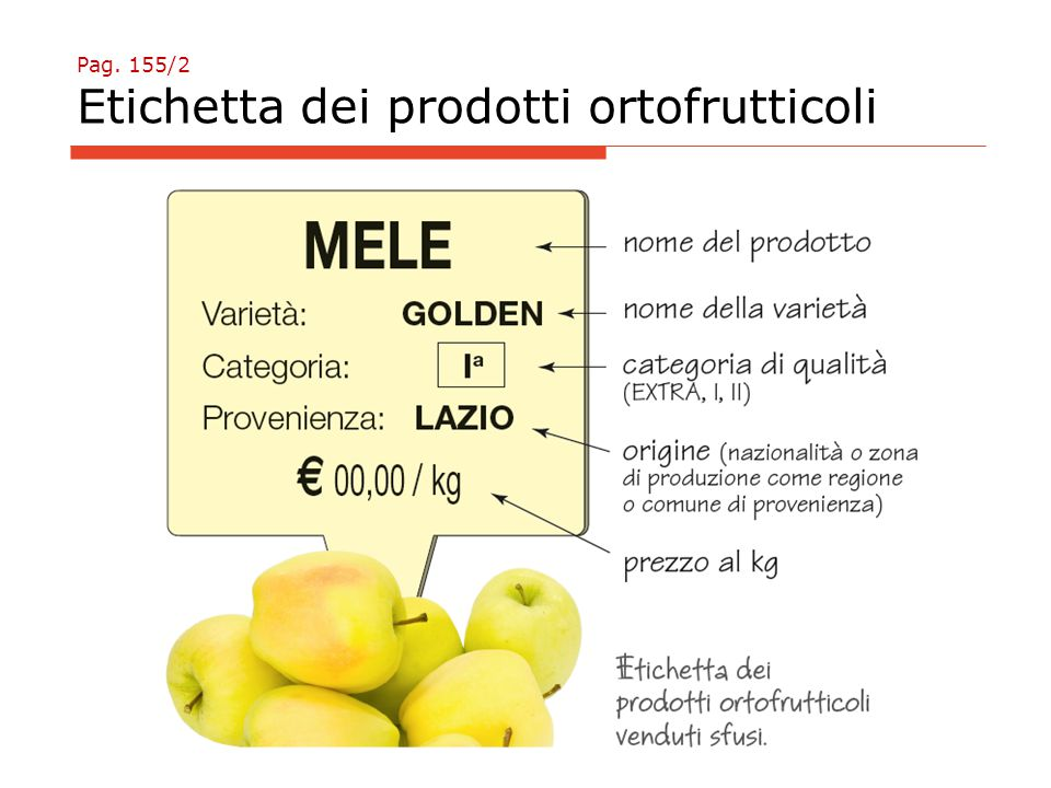 Pag. 155/2 Etichetta dei prodotti ortofrutticoli
