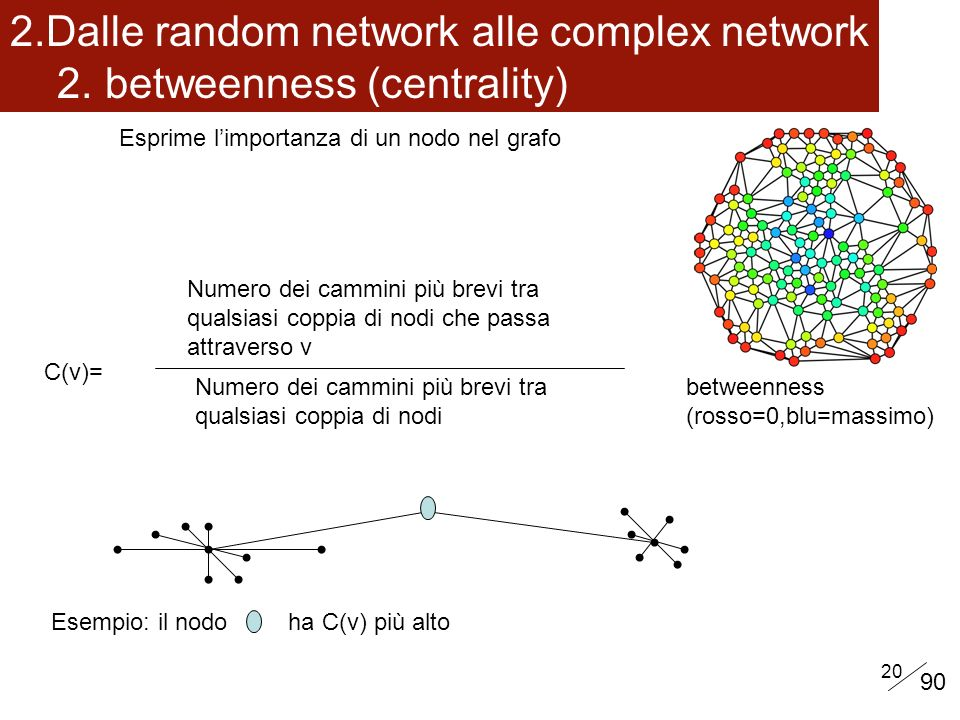 Dalle random network alle complex network 2. betweenness (centrality)