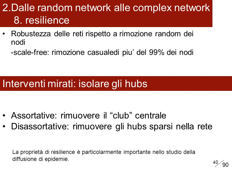 Dalle random network alle complex network 8. resilience