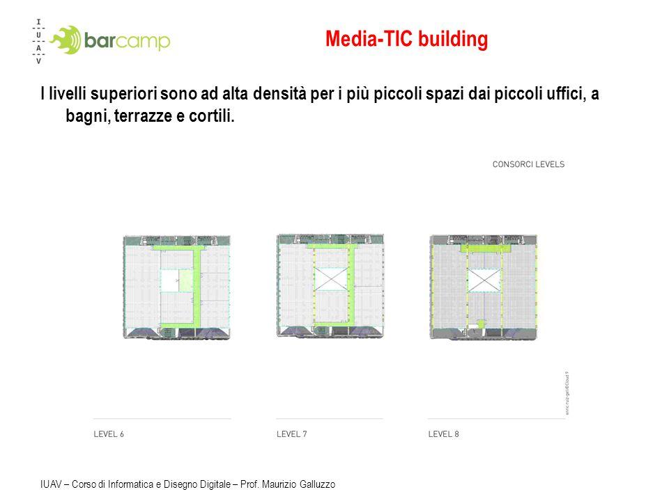 Media-TIC building I livelli superiori sono ad alta densità per i più piccoli spazi dai piccoli uffici, a bagni, terrazze e cortili.