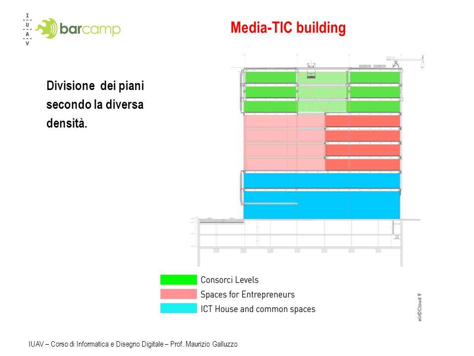 Media-TIC building Divisione dei piani secondo la diversa densità.