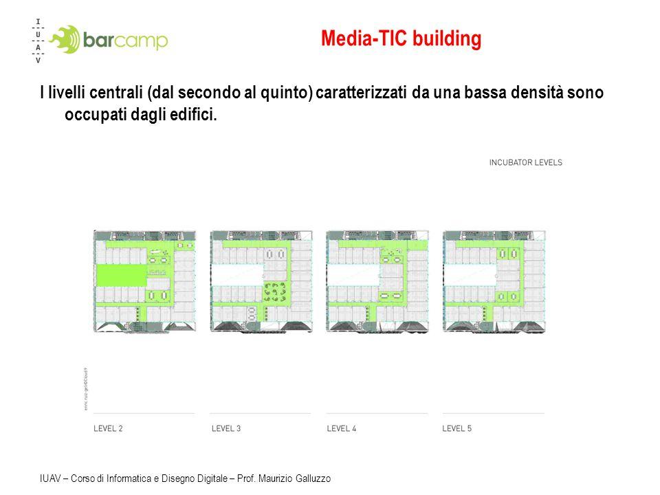 Media-TIC building I livelli centrali (dal secondo al quinto) caratterizzati da una bassa densità sono occupati dagli edifici.