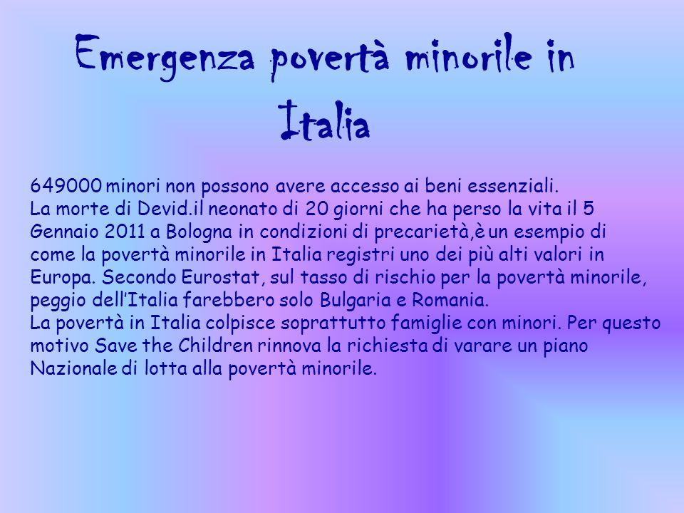 Emergenza povertà minorile in Italia