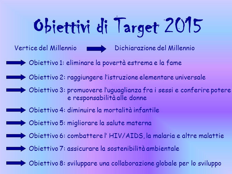 Obiettivi di Target 2015 Vertice del Millennio