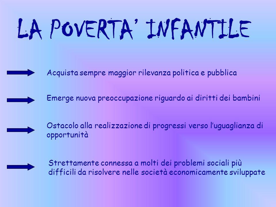 LA POVERTA' INFANTILEAcquista sempre maggior rilevanza politica e pubblica. Emerge nuova preoccupazione riguardo ai diritti dei bambini.