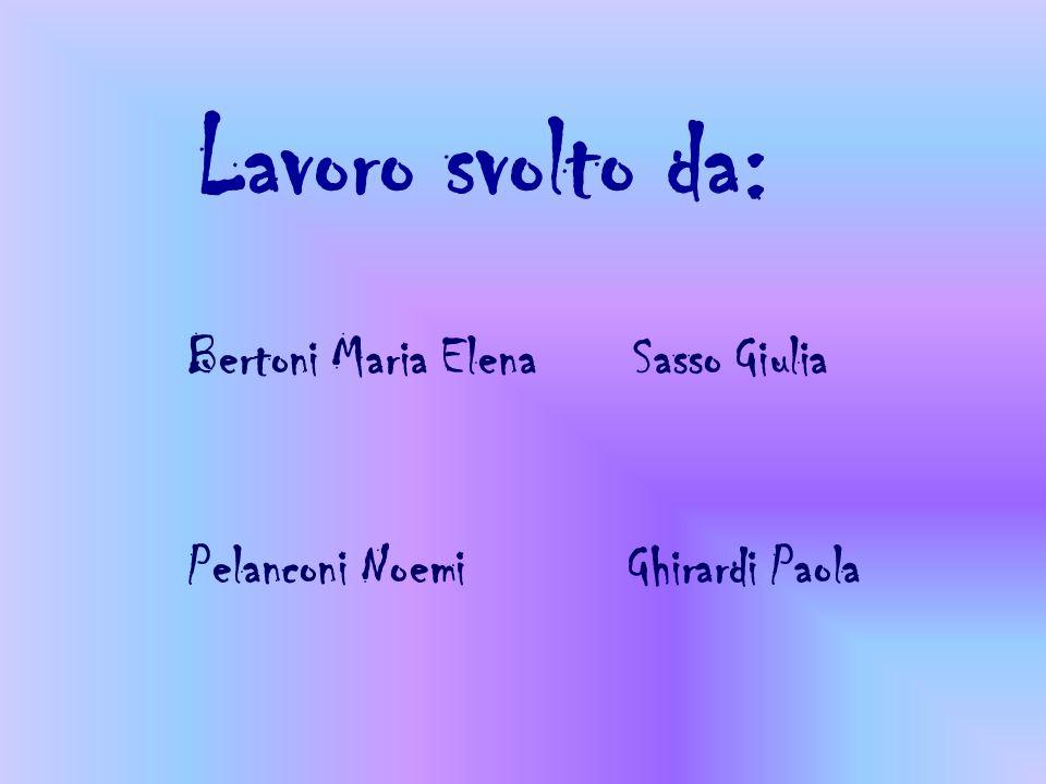 Lavoro svolto da: Bertoni Maria Elena Sasso Giulia