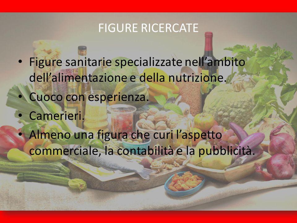 FIGURE RICERCATE Figure sanitarie specializzate nell'ambito dell'alimentazione e della nutrizione. Cuoco con esperienza.