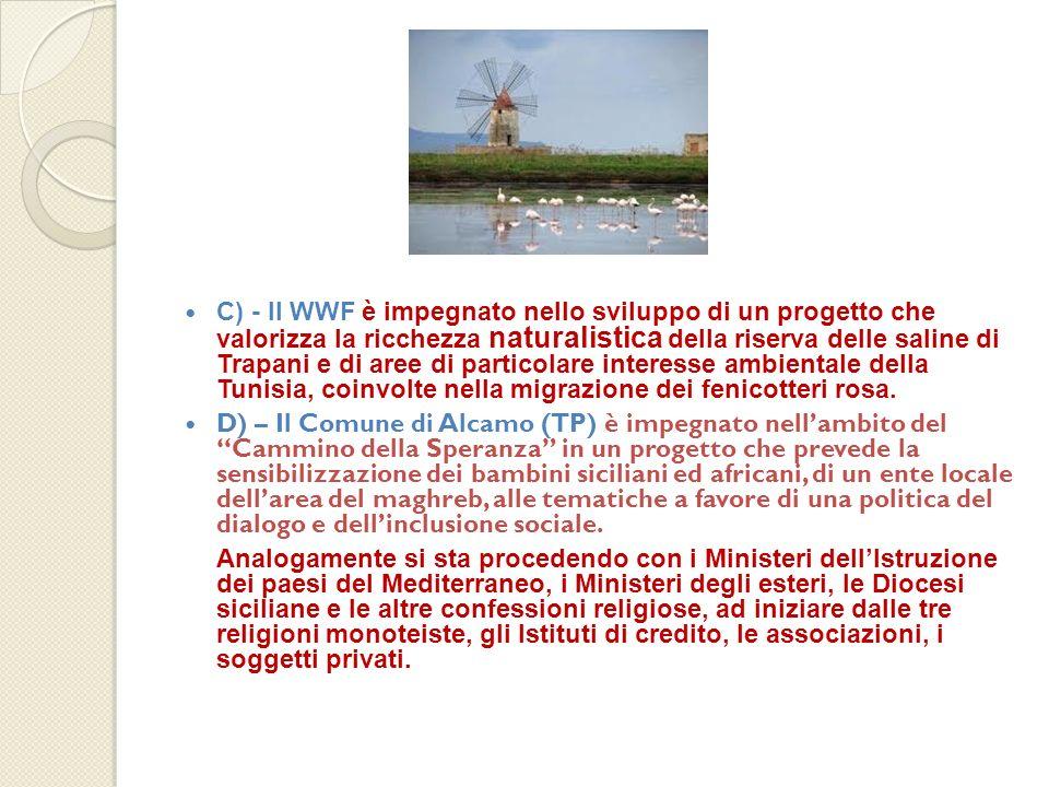 C) - Il WWF è impegnato nello sviluppo di un progetto che valorizza la ricchezza naturalistica della riserva delle saline di Trapani e di aree di particolare interesse ambientale della Tunisia, coinvolte nella migrazione dei fenicotteri rosa.