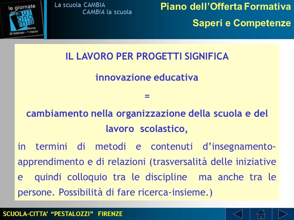 IL LAVORO PER PROGETTI SIGNIFICA innovazione educativa =