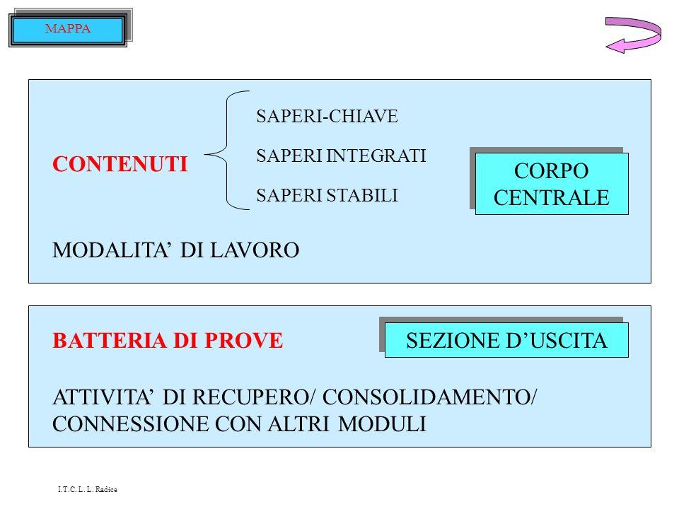 ATTIVITA' DI RECUPERO/ CONSOLIDAMENTO/ CONNESSIONE CON ALTRI MODULI