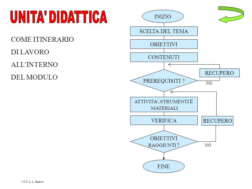 UNITA DIDATTICA COME ITINERARIO DI LAVORO ALL'INTERNO DEL MODULO