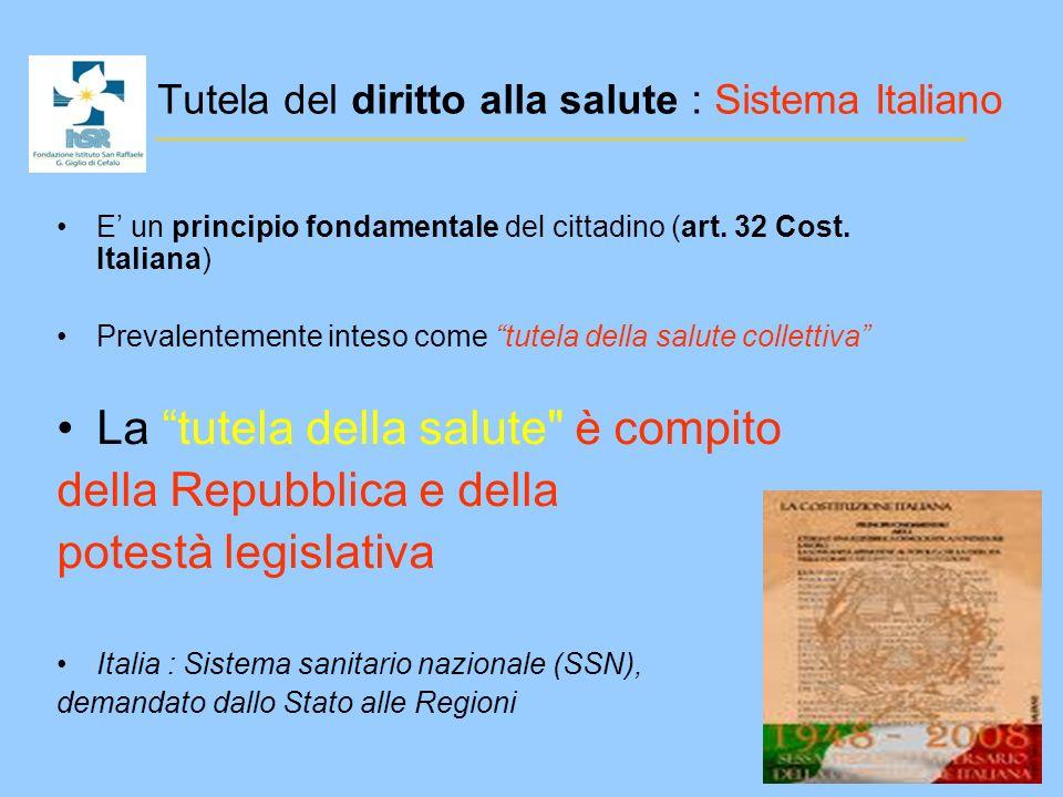 Tutela del diritto alla salute : Sistema Italiano
