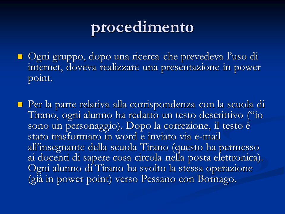 procedimento Ogni gruppo, dopo una ricerca che prevedeva l'uso di internet, doveva realizzare una presentazione in power point.
