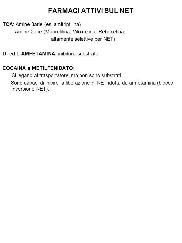 FARMACI ATTIVI SUL NET TCA: Amine 3arie (es: amitriptilina)