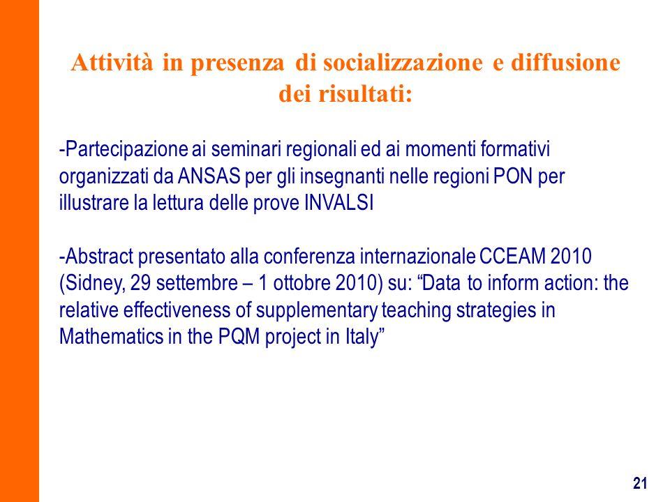 Attività in presenza di socializzazione e diffusione dei risultati: