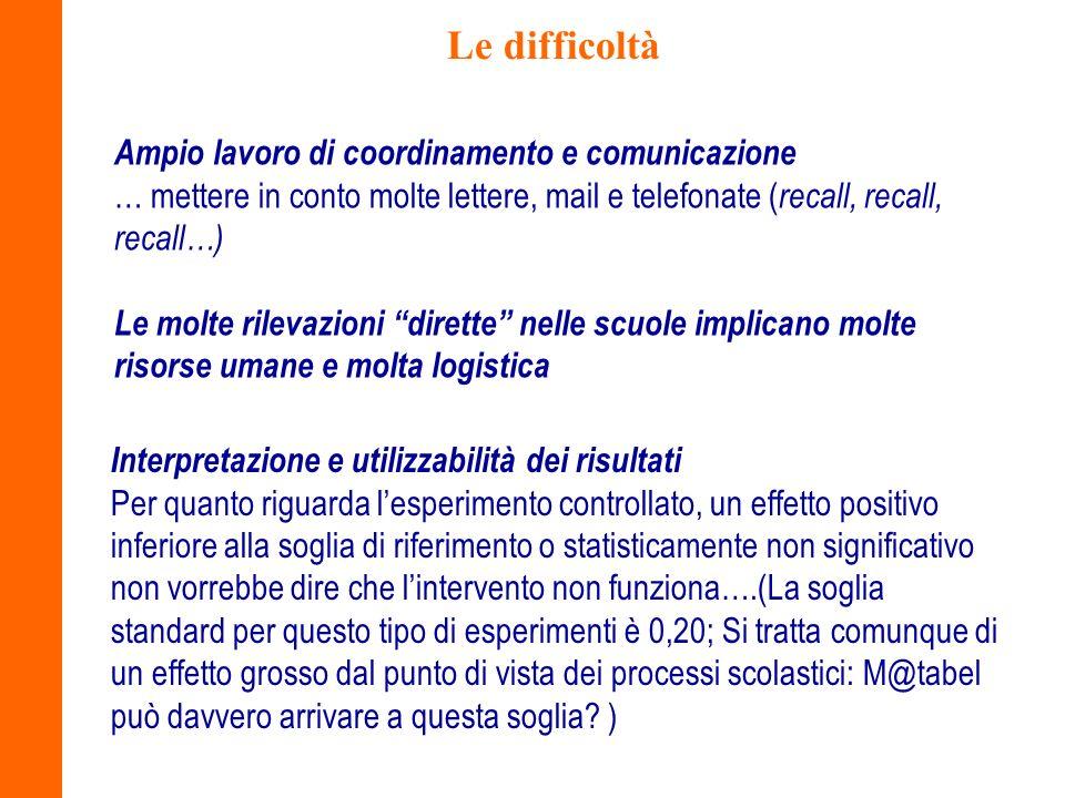 Le difficoltà Ampio lavoro di coordinamento e comunicazione