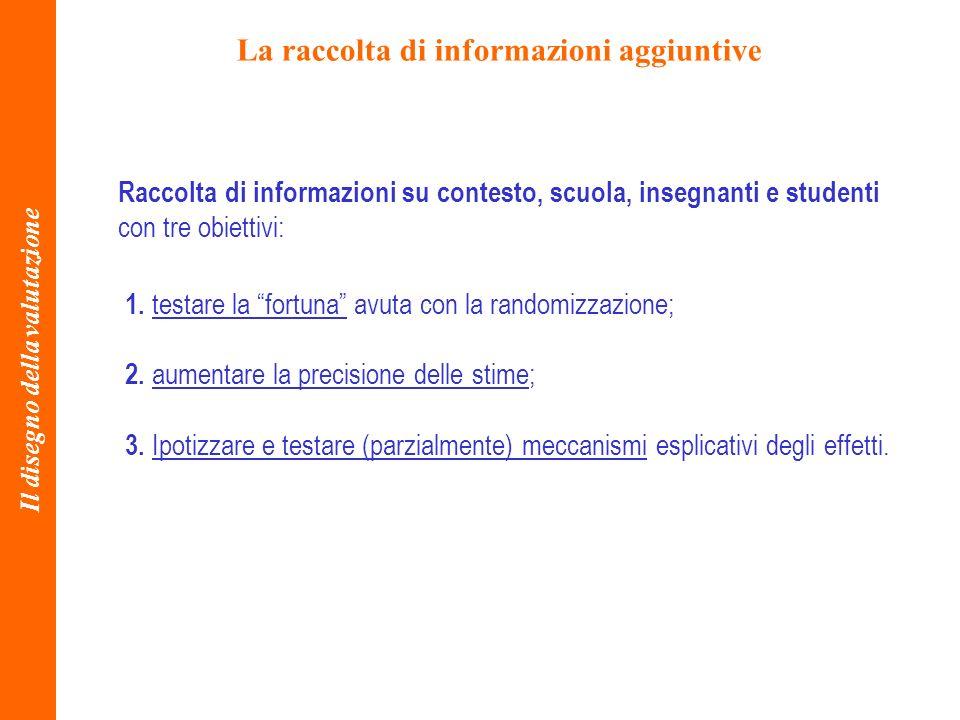 La raccolta di informazioni aggiuntive Il disegno della valutazione