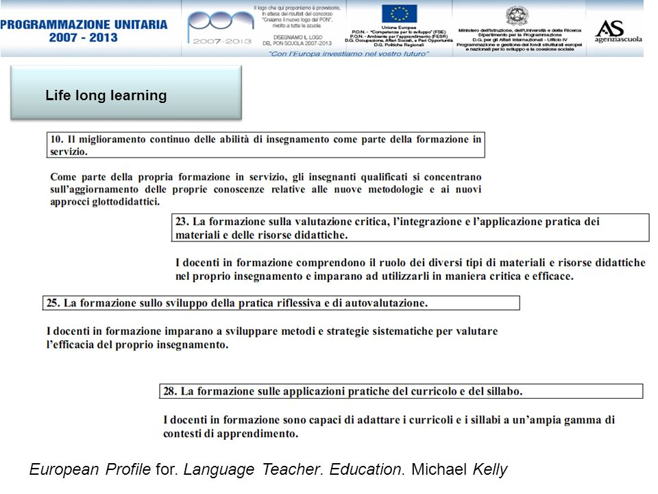 European Profile for. Language Teacher. Education. Michael Kelly