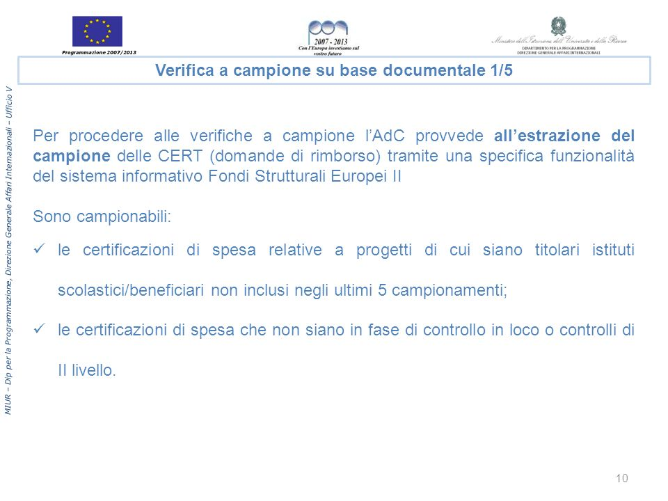 Verifica a campione su base documentale 1/5