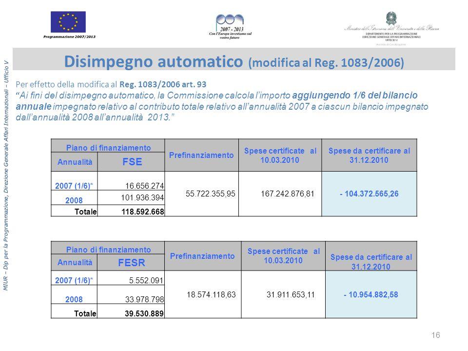 Disimpegno automatico (modifica al Reg. 1083/2006)