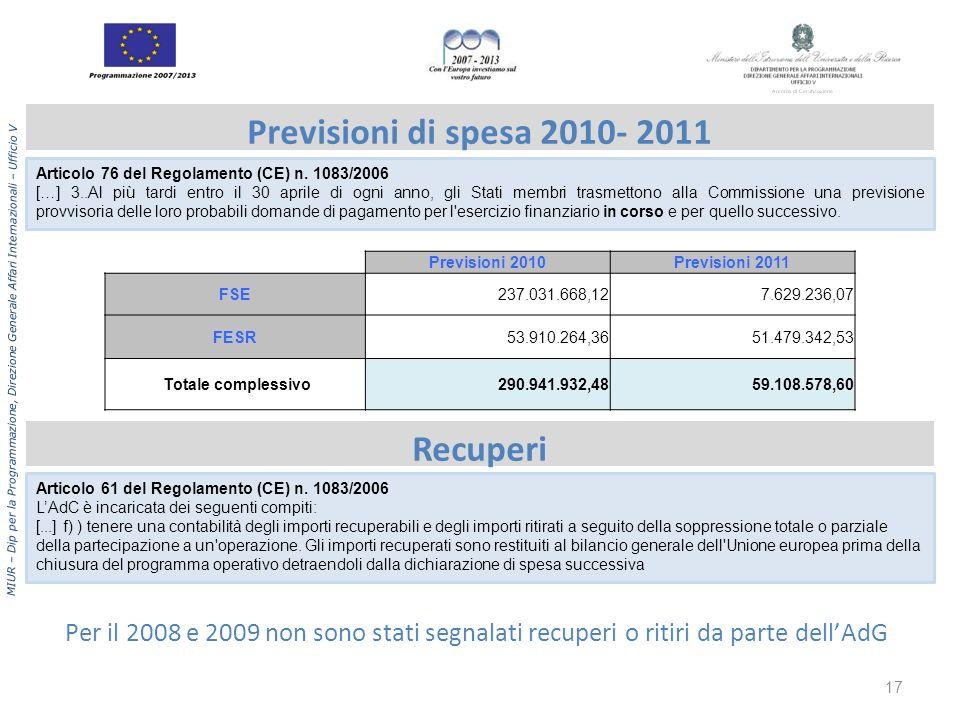 Previsioni di spesa 2010- 2011 Recuperi