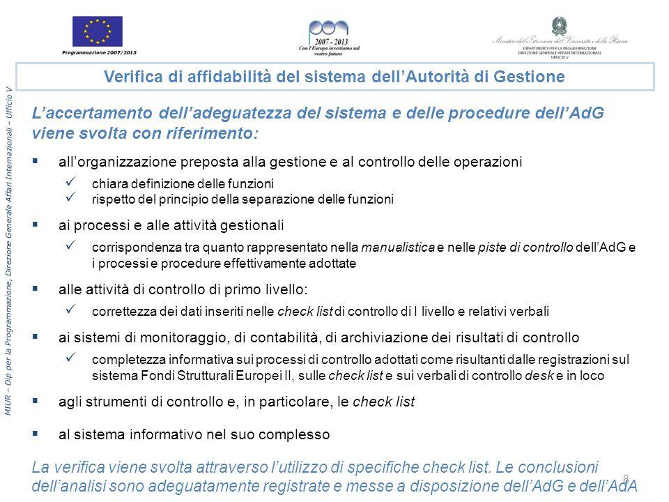 Verifica di affidabilità del sistema dell'Autorità di Gestione