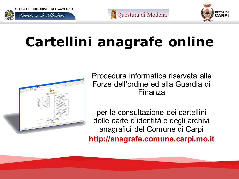Cartellini anagrafe online