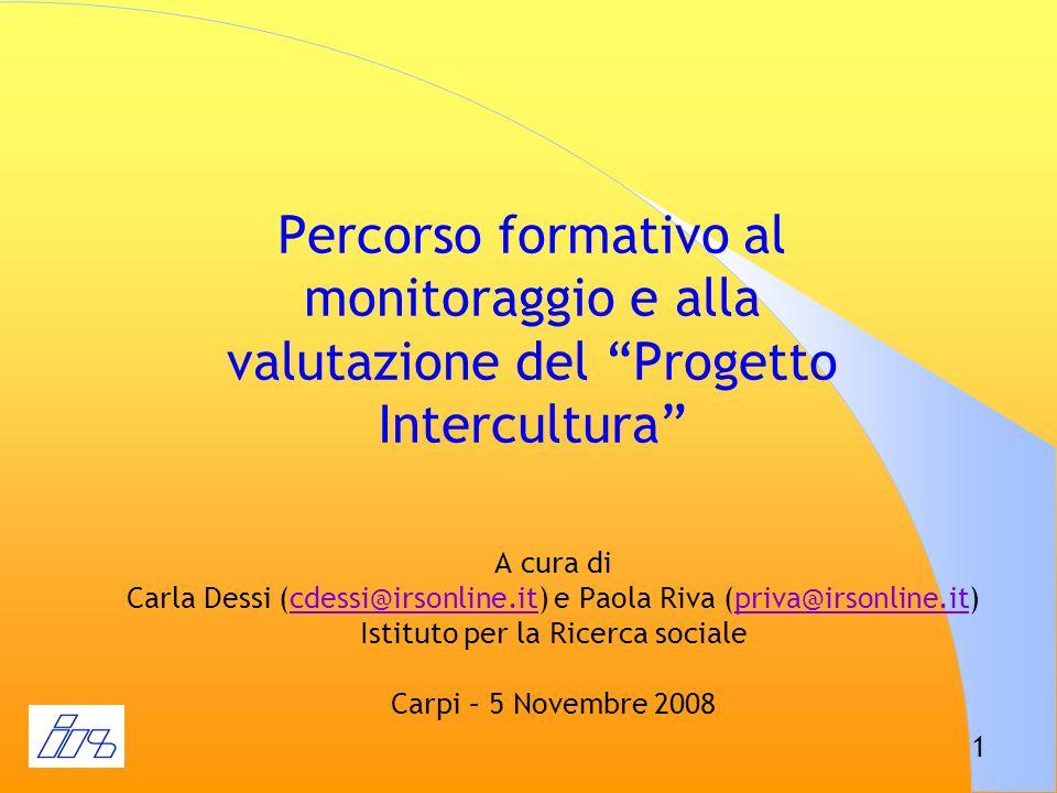 Percorso formativo al monitoraggio e alla valutazione del Progetto Intercultura