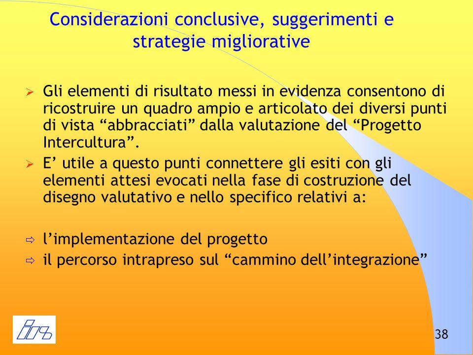 Considerazioni conclusive, suggerimenti e strategie migliorative