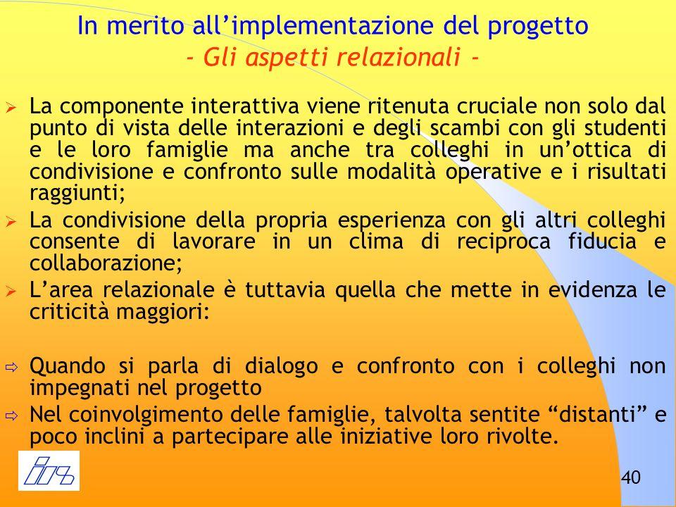 In merito all'implementazione del progetto - Gli aspetti relazionali -